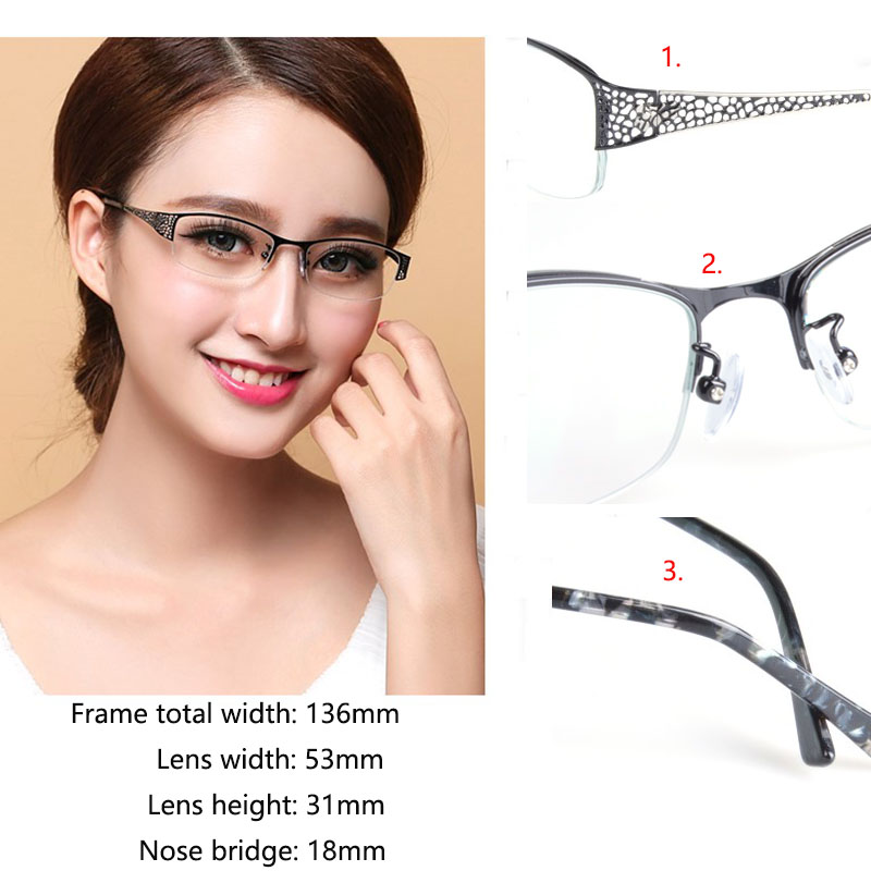 BCLEAR Fashion Presbyopia Half Frame Reading Eyelasses Clear Anti-Blue Ray Computer Lenses Hollow Alloy Women Reading Glasses