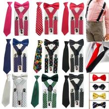 Комплект из 3 предметов, подтяжки для маленьких мальчиков, галстук-бабочка, подтяжки для детей, эластичные регулируемые Y-Back подтяжки, детские галстуки для свадьбы, HHtr0005