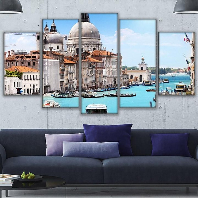 Canvas HD Printed Modern Pictures Frame Wall Art Home Decor 5 Pieces ...