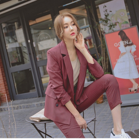 Double Breasted Striped Blazer Pant Suits Wine Red Form 2 Piece Blazers Sets Office Lady Suits Women Outfits Autumn jn130