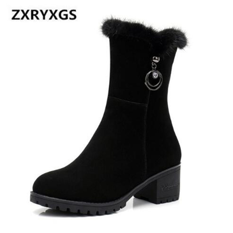 Winter Snow Boots Women 2018 New Mate Cow Leather Women Shoes Boots Non-slip Comfort Women Warm Shoes Large Size Women Boots