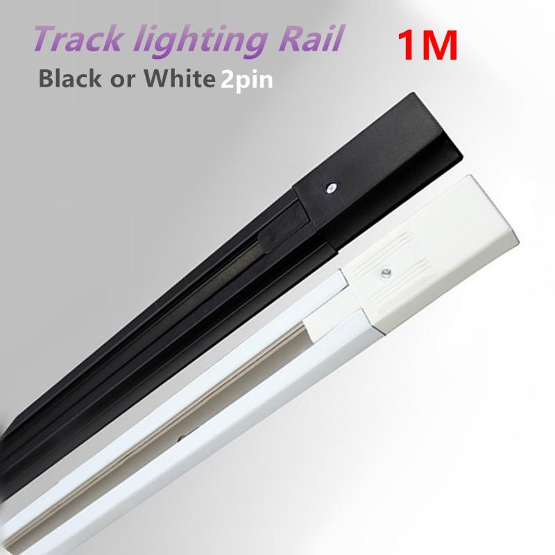 1m LED track light rail track lighting fixture rail for track lighting Universal rails white/black 2 wire 100% copper 10pcs/lot drawer track two drawer rail drawer rail white two rail track rail old old models
