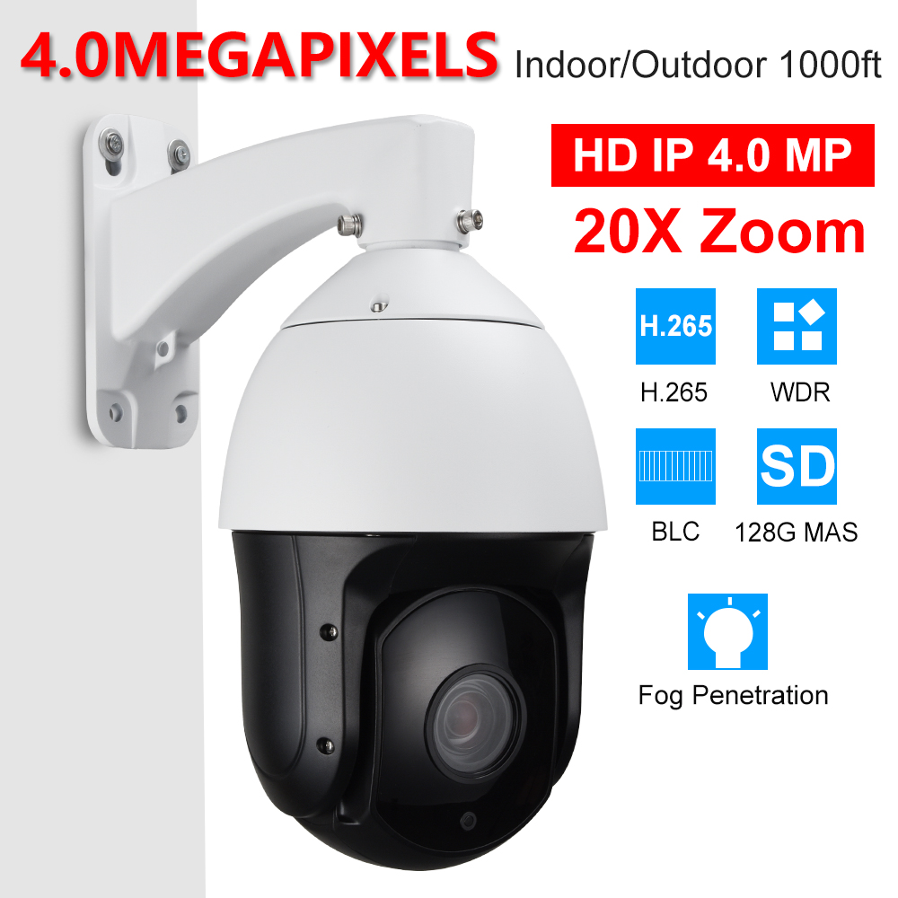 CCTV Security IP66 H.265 H.264 6 High Speed Full HD 4MP IP PTZ Camera 4 Megapixels 20X Zoom ONVIF W/ SD Slot 300m Night Vision top high speed full teeth piston