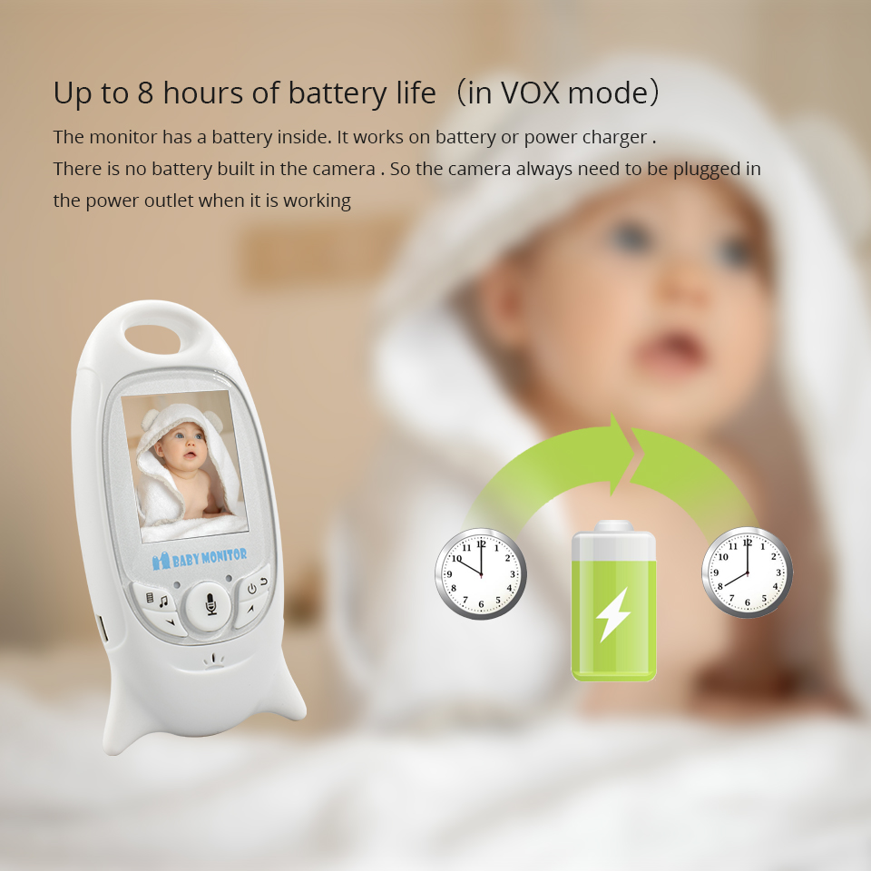 Image 3 - Baby Monitor VB601 Wireless 2.0 inch Audio Video Radio Nanny Baby Camera Portable Baby BeBe Baba Electronic Camara Babysitter-in Baby Monitors from Security & Protection