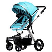 KUBEEN&Baby Bum Baby Stroller Higher Land scape Golden baby 3 in 1 Portable Folding Stroller 2 in 1 Luxury Carriage