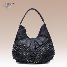 La moda de cuero genuino mujeres de piel de oveja negro del bolso del remache Punky del estilo de las mujeres hobos bolso de hombro de la capacidad grande