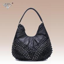 Fashion genuine leather sheepskin women s black handbag rivet Punk style women s shoulder bag big