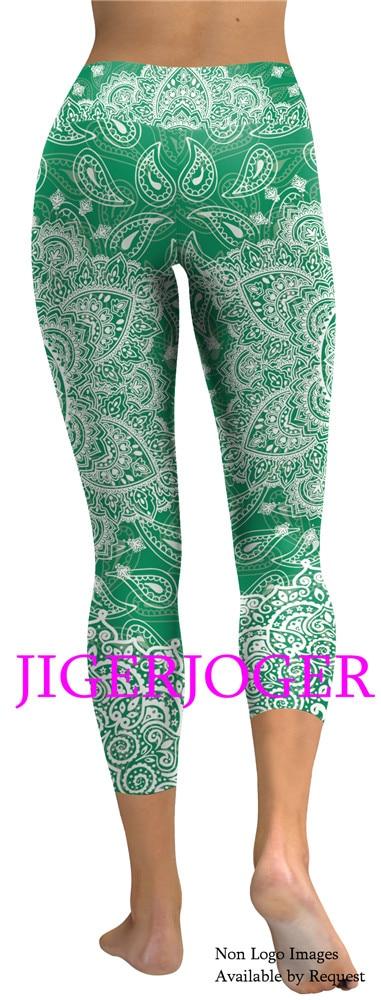 3c1c0d1073826 JIGERJOGER 2019 Spring New High waistband a pocket Green mandala 3/4 Yoga  Capris Legging Shorts 7/8 compression tights Capri's-in Yoga Shorts from  Sports ...