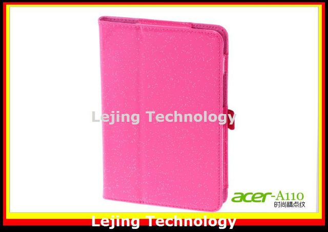 New Glitter Folio PU Stand Leather Case Cover For Acer Iconia A110 7 inch Tablet PC +free shipping