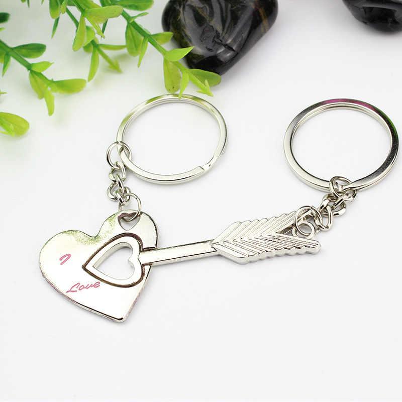 2 шт./1 пара Мода для влюбленных пар; обувь из серебряного сплава Стрела Амура бантик Сердце Love автомобильный брелок для ключей в форме сердца романтический подарок на день рождения