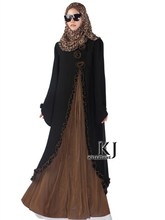 2015New Arrival Islamic Muslim long dress for Women Malaysia abayas in Dubai Turkish ladies clothing high