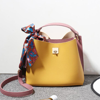 Newest Handbag Pu Leather Women Shoulder Bag Bucket Summer Fashion Ribbon Ladies Totes Bag Simple Scarf