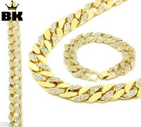 14k Gold Cuban Link Chain Iced Out Bling 30 Half Iced Out Hip Hop Miami Chain