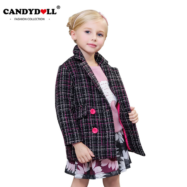 premium selection e0614 9d779 US $32.9 |Candydoll kinder clothing winter mädchen wollmantel mädchen  oberbekleidung dicke warme plaid jacken kinder wolle mischungen 4 12y  saj3108 in ...