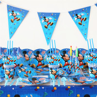 152pcs Mickey Mouse Kids Birthday Party Set Decoration Party Supplies Paper Cup Plate Napkin Banner Hat Straw Candy/Popcorn box