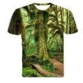 2016 Del Nuevo Diseñador Del Verano 3D Imprimió la Camiseta Los hombres de Manga Corta Camiseta Hombres Camiseta m-4XL Creativa bosque
