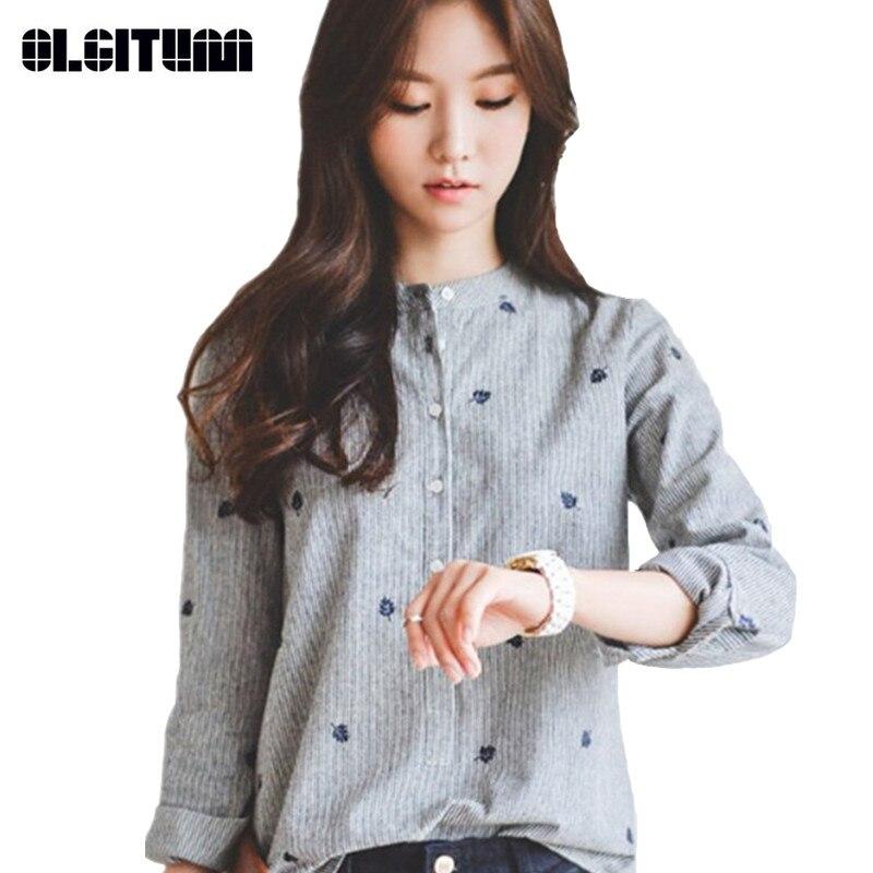 310d688f71fba 2018 جديد أزياء النساء قمصان جديدة لربيع وصيف أزياء قمصان عادية سليم الوقوف  الياقة المرأة BS110
