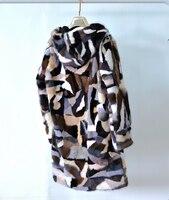 Натуральной кусочки меха норки пальто Для женщин Красочные пиджаки с капюшоном Длинные
