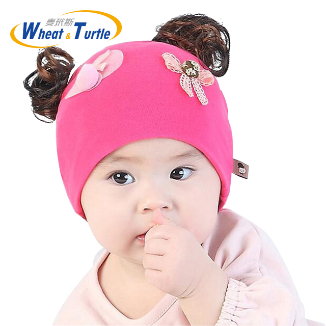 6160180a038 Baby Hat Fake hair Baby Cap Cotton Pompom Bobble Hat for Kids Winter Boys  and Girls Caps Artificial Fur Children s Hats