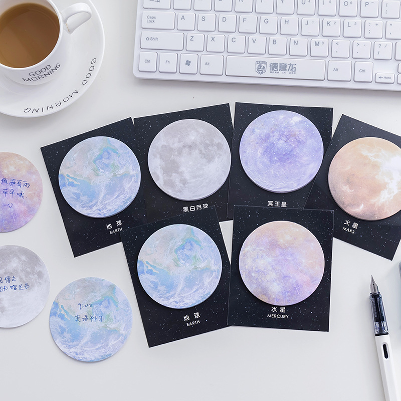 Creative Space Galaxy Moon Cute Sticky Notes Kawaii Memo Pad Post Notepad Sticker Stationary Planner Index Tab Office Decoration