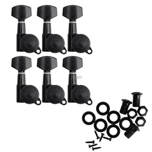 Guitar 6 String Tuning Pegs Locking Tuners Keys Machine Heads Black and Chrome JUL05_15