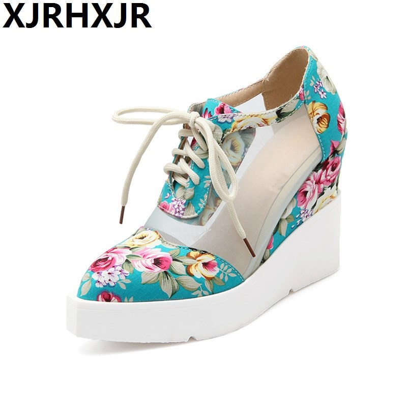 Summer High Heels Wedge Platform Women Pumps Mesh Flower Print Fabric Pointed Toe Casual Party Dress Lace Up Punk Ladies Shoes