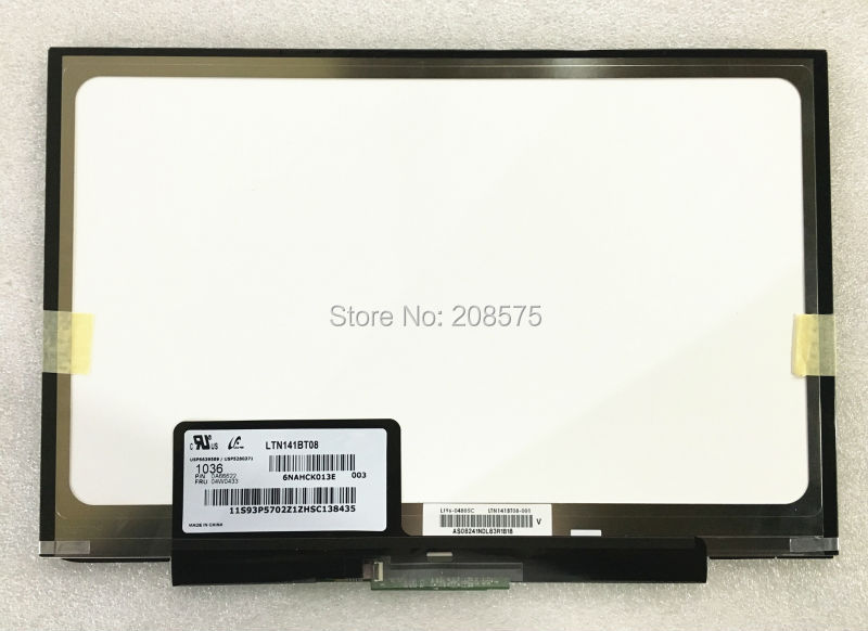 Free Shipping LTN141BT08 LT141DEQ8B00 LCD Screen for Thinkpad T400S T410S FRU:04W0433 1440*900 Slim LED PANEL ltn141bt08 fit lt141deq8b00 lcd screen1440 900 slim led panel