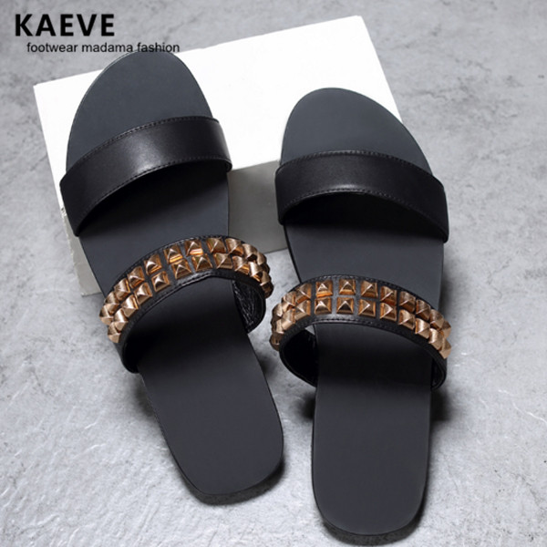 Detail Feedback Questions about 2017 Summer Flat With Rubber Slippers Black Men  Sandals Leather Gold Riverts Slides New Natives Mens Studded Flip Flops 45  ... e366143a19d8