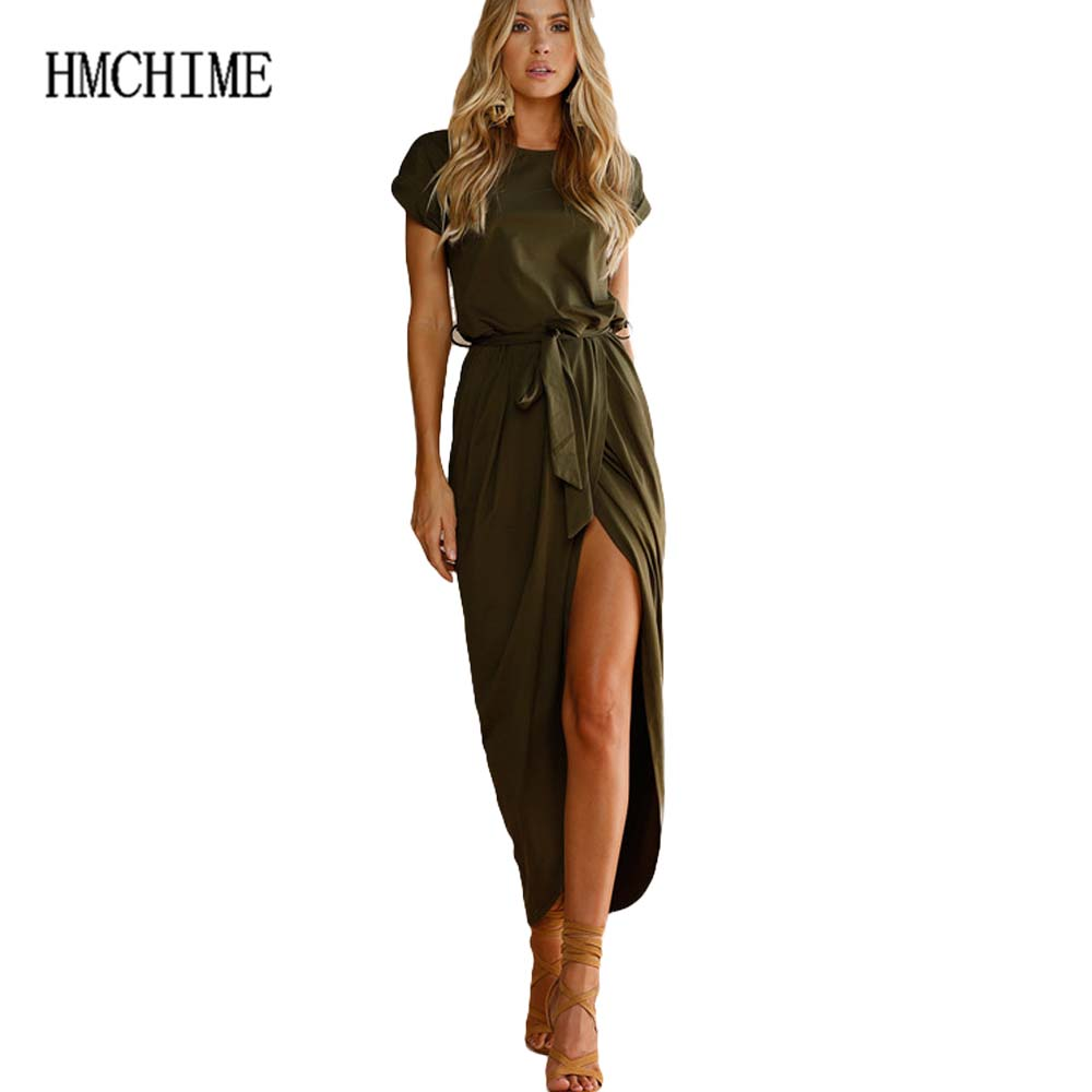 Plus Size 6 Colors Elastic Waist Split Hem Womem Dress Maxi Short Sleeve Round Collar Pleated Party Dress Long Vestidos HM1283 ...