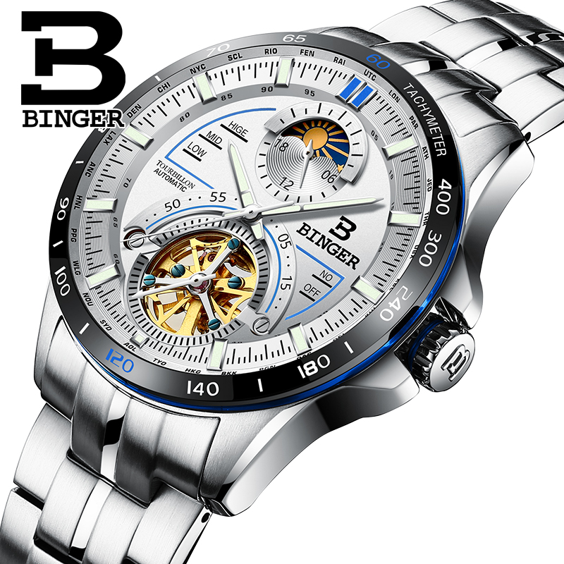 Switzerland BINGER Watch Men Luxury Brand Mens Watches Tourbillon Automatic Mechanica Wristwatch Sapphire luminous reloj hombre switzerland binger watch men 2017 luxury brand automatic mechanical men s watches sapphire wristwatch male reloj hombre b1176g