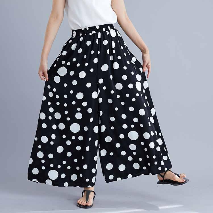Summer Women Fashion Polk Dot Print   Wide     Leg     Pants   High Ladies Casual Loose Big   Leg   Big Size Trousers