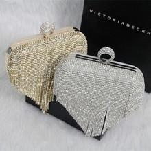9e7a18e1681cc 2016 Tassel Rhinestone Finger Ring Evening Bags Diamonds Wedding Handbags  Women Day Clutch Mini Purse Bag