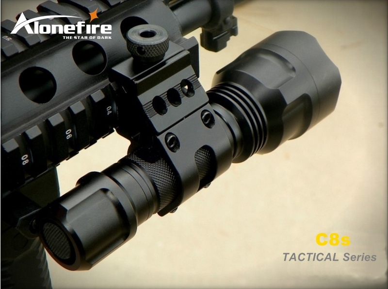Alonefire CREE XM-L2 LED Hunting C8 Tactical Gun Flashlight Torch with gun scope bases Mount+remote switch