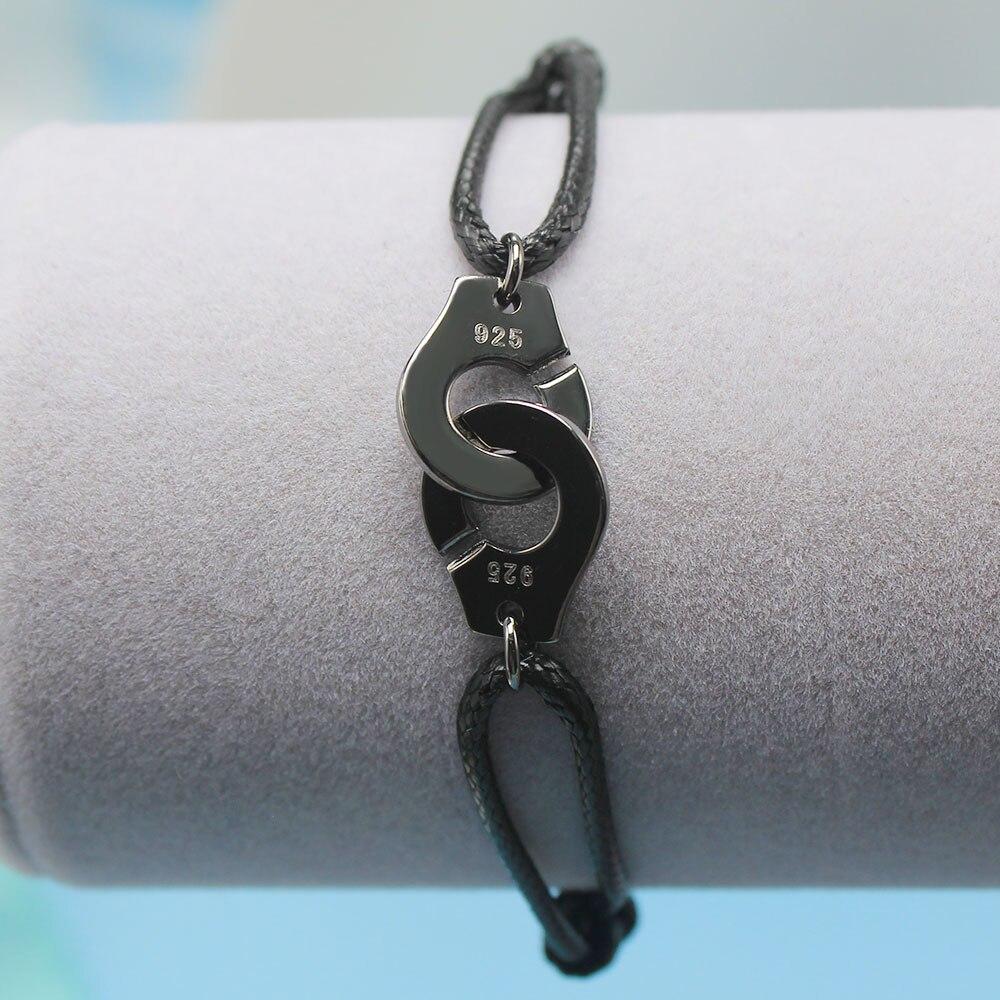 Мужские ювелирные изделия из стерлингового серебра 925 браслет наручники для женщин Bijoux с регулируемой веревкой 925 Серебряный кулон браслет для мужчин - Окраска металла: HH