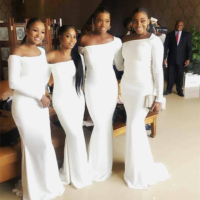 White Long Sleeve Bridesmaid Dresses Baot Neck Off The Shoulder Mermaid  Satin Long Wedding Party Gowns 2019 Cheap Women Dress fedf9f16443c