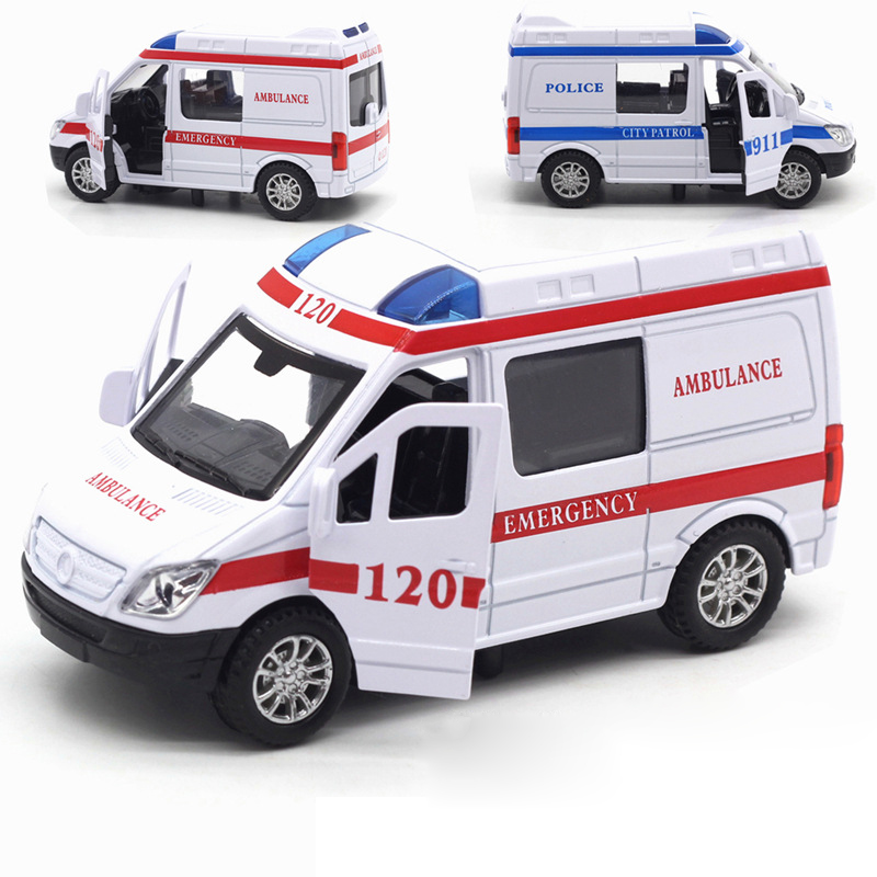 1:32 Hospital Police Alloy Diecast Ambulance Vehicle Rescue Car Model Pull Back With Sound Light Boys Educational Toys For Child