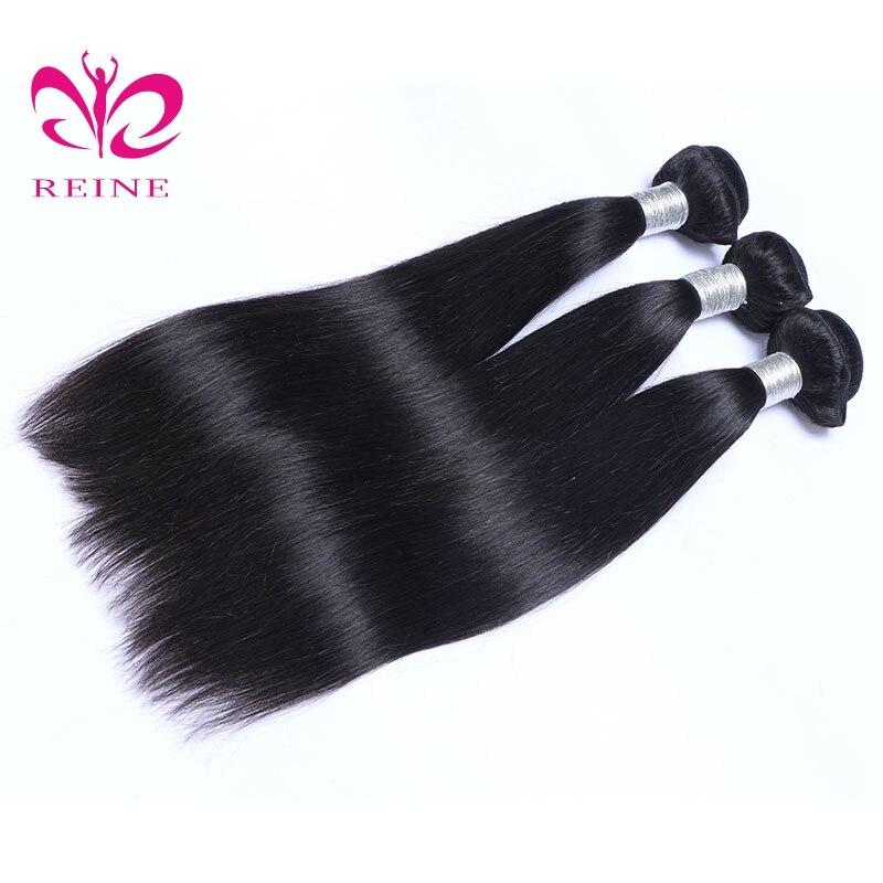 REINE Hair Straight 3 Bundles Mänskligt Hår Brazilian Hair Weave - Mänskligt hår (svart) - Foto 5