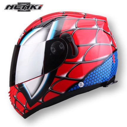Corsa Ferro-ManFull Casco Moto Inverno Spider Uomini Doppia Lente Casco Moto Casque!!