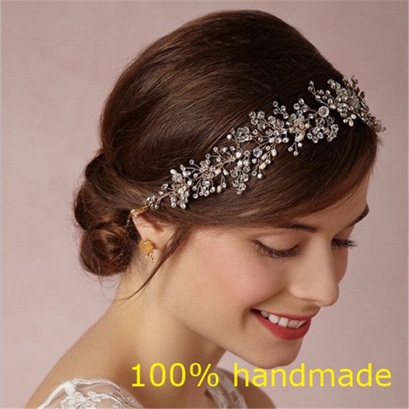 Prix pour Magnifique Cristal De Mariée Bandeau De Mariage Strass Bandeaux Cheveux Accessoires De Mariée diadèmes Mariée Ruban Bandeaux RE597