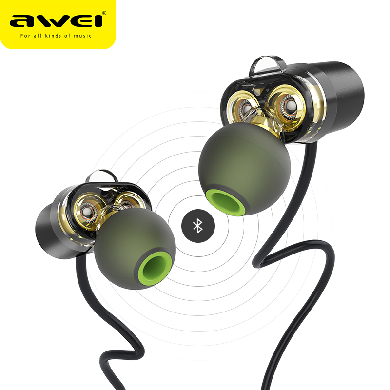 AWEI Newest X650BL Bluetooth Headphone Wireless Earphone Headset with Dual Driver Speaker Earpiece for phone HIFI fone de ouvido