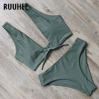 RUUHEE New Bikini Swimwear Women Swimsuit Bathing Suit Bikini Set 2018 High Cut Moderate Coverage Sexy