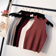 Summer Womens Knitting Halter Off shoulder Tank Crop Tops Female Bodycon Knitted Camisole Sleeveless Short Tee shirts For Women