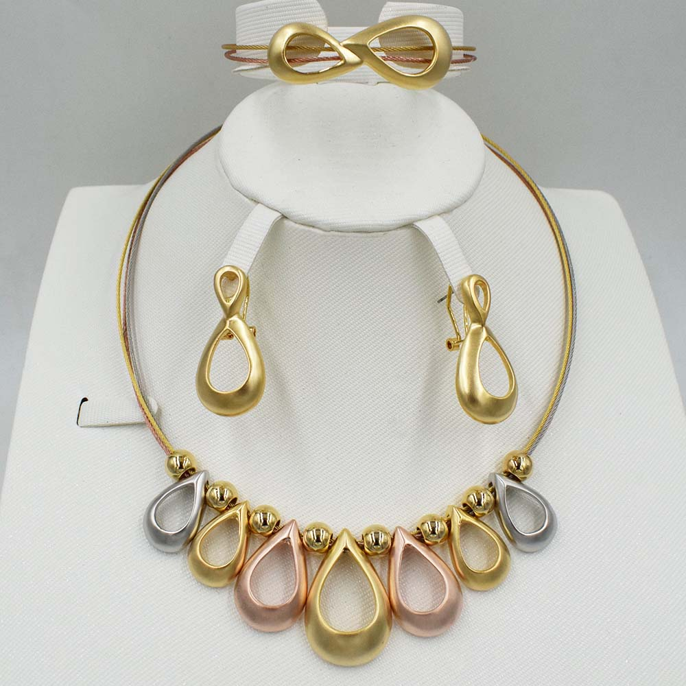 New High Quality Dubai 3color Jewelry Set Gold Color Nigerian Wedding African Jewelry Sets Parure Bijoux