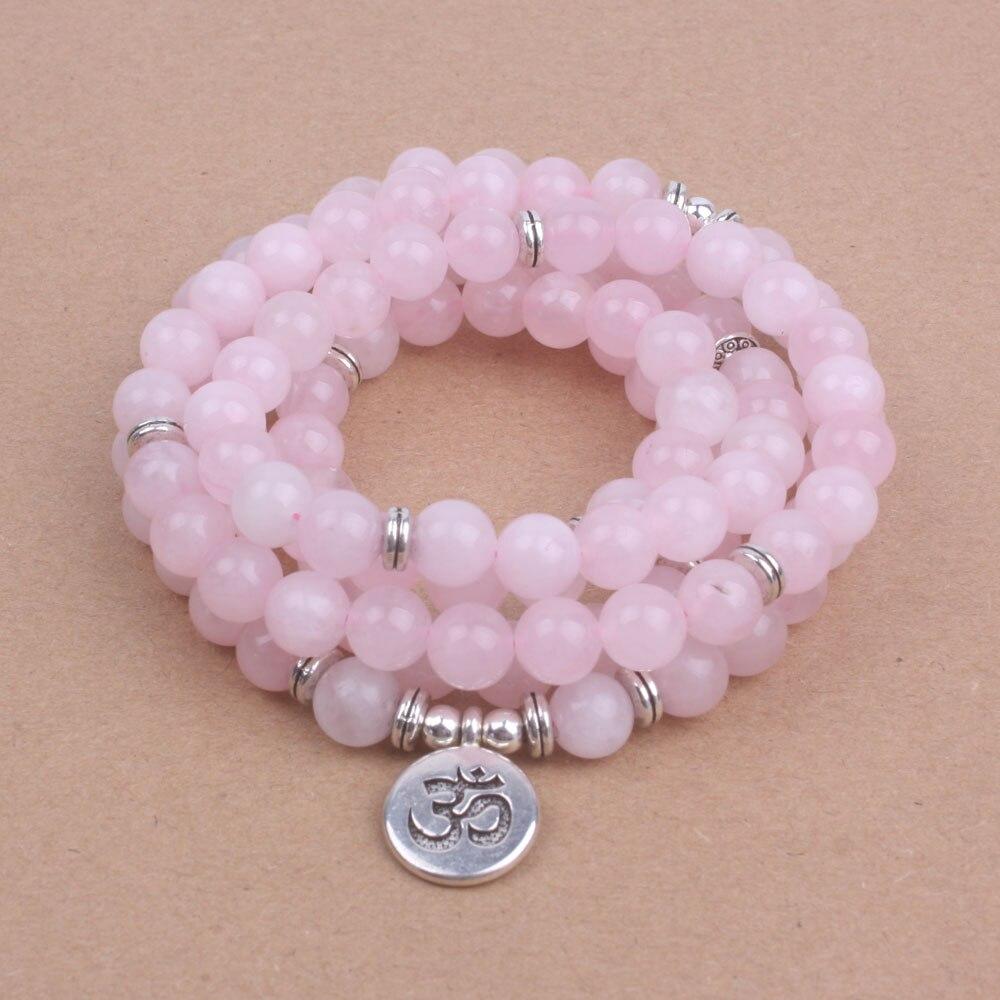 108 cuentas de mala con Lotus OM Buddha Charm pulsera para mujer rosa Piedra Natural yogi joyería dropshipping