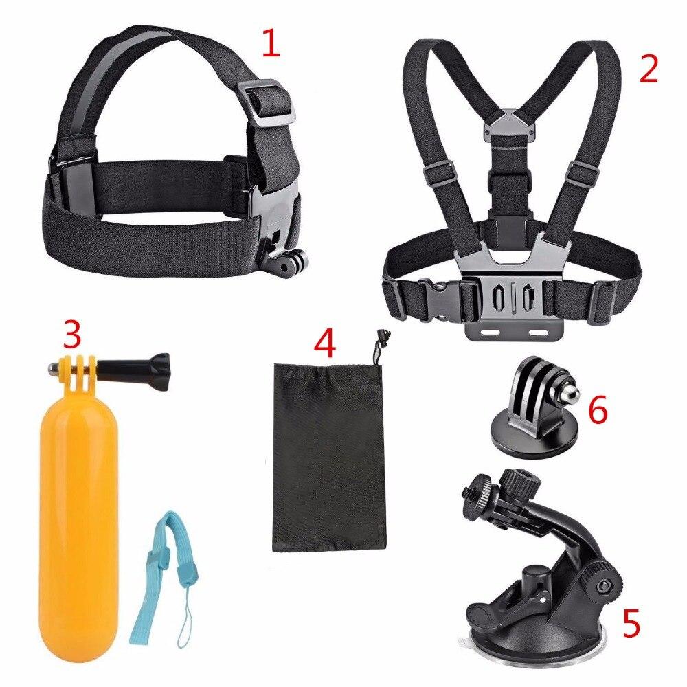 6 dans 1 Sport Caméra Accessoires Set pour Go pro Hero 4 3 + 3 2 Sjcam SJ4000 SJ5000 SJ6000 SJ7000 AKASO EK7000 5000 camera Action
