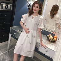 Maternity wear spring Korean short sleeved pregnant women shirt spring and summer cotton and linen embroidery pregnant women dre