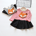 O Vestido da menina 2016 Nova Crianças de bebê da marca Fox completo manga Vestido de princesa outono Crianças Vestidos de Festa para a roupa Das Meninas BOBO CHOSES