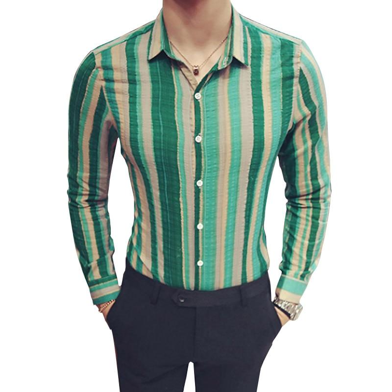 Striped Shirt Men Korean Style Slim Fit Long Sleeve Cotton Shirts Fashion Designer Club Button Shirt 5XL