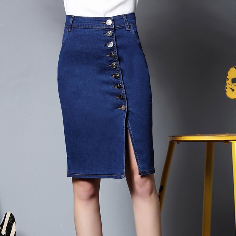 67b8f1b4333 2018 Spring New Arrival 6XL Plus Size Casual Denim Skirt Women Vintage  Ripped Denim Skirt Office