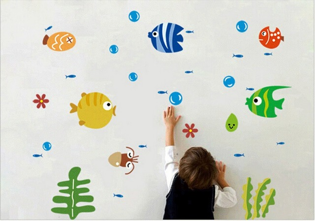 Cute Tropical Fish Decoration Bubble Wall Sticker Kids Room Nursery Kitchen Bathroom Decal Hot